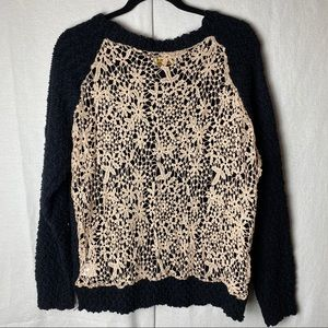 Alythea Black and Tan floral embroidered sweater~S